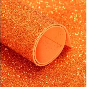 ФГ-03002 Фоамиран глиттерный 60х40см, цвет оранжевый, 1 лист