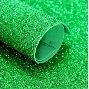 ФГ-03003 Фоамиран глиттерный 60х40см, цвет зеленый, 1 лист